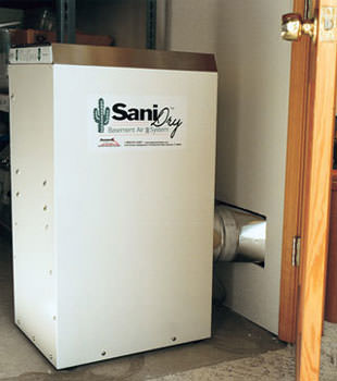 A Energy Efficient basement dehumidifier installed in a finished basement in Champlin